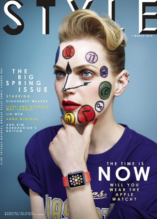"Model Guinevere Van Seenus poses with an Apple Watch on the cover of the March 2015 issue of ""STYLE"" magazine."